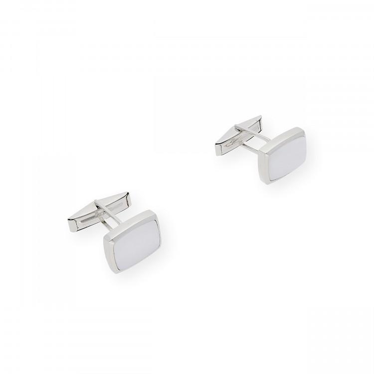Gemelos de Plata con Nácar Diseño Pequeños Rectangular