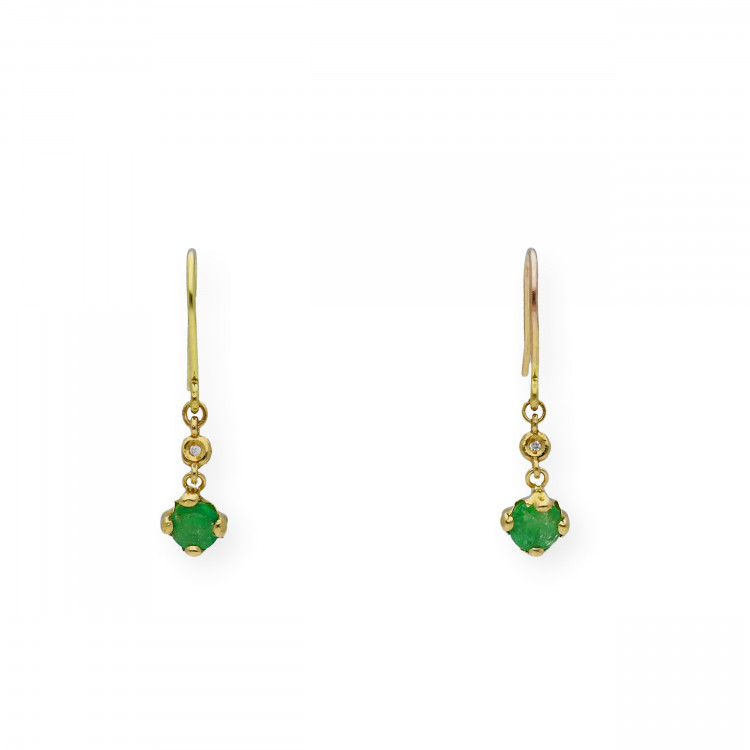 Pendientes de Oro y Diamante con Esmeralda o Zafiro