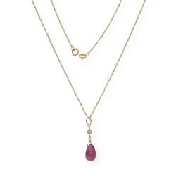 Collar con Colgante de Piedras Preciosas Diamantes y Oro 18k