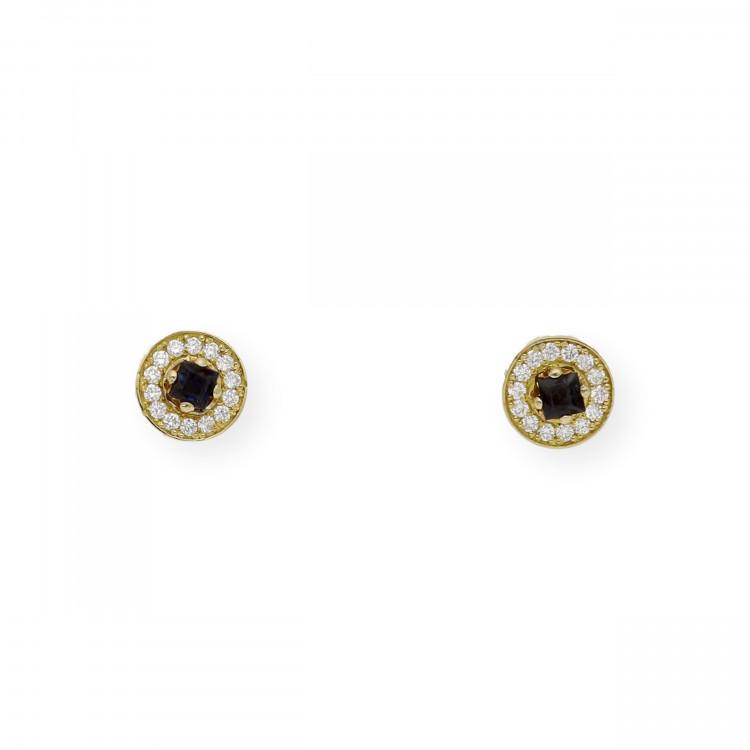Pendientes de Oro con Diamantes y Zafiros
