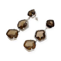 Pendientes de Plata Largos con 3 Piedras
