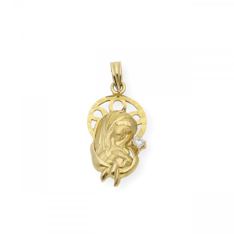 Medalla Virgen Niña Primera Comunión de Oro con Circonita