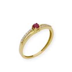Anillo de Oro Amarillo y Diamantes con Zafiro, Rubí o Esmeraldas