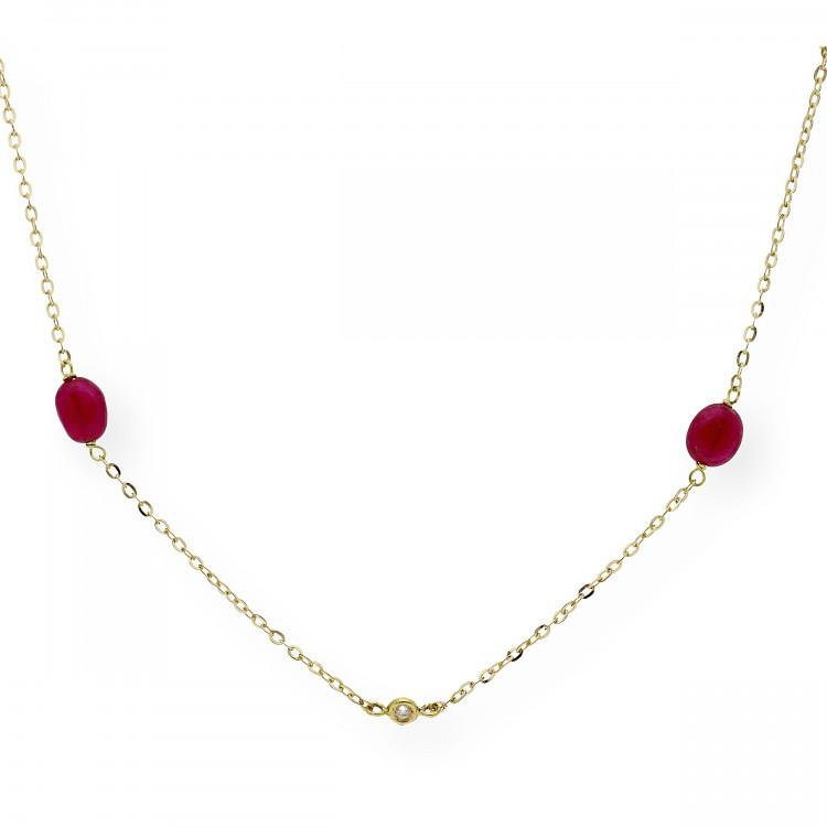 Collar con Rubíes y Diamantes en Oro 18k