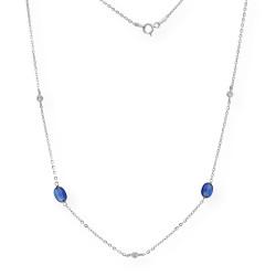 Collar con Zafiros y Diamantes en Oro blanco 18k