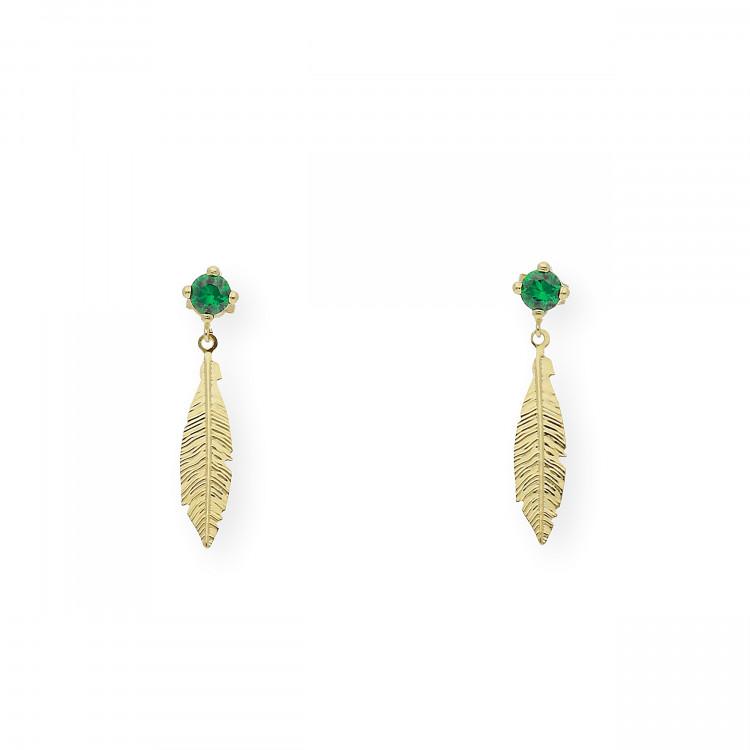 Pendientes Esmeralda y pluma Oro 18k