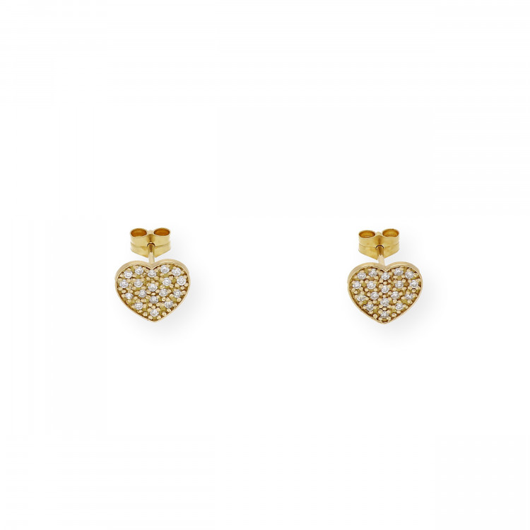 Pendientes de Oro Diseño de Corazón con Diamantes engastados