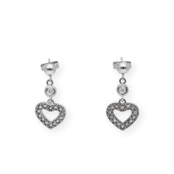 Pendientes de Oro Diseño de Corazón y Bola con Diamantes engastados